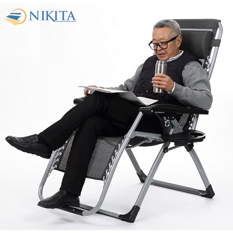 Ghế gấp thư giãn mẫu mới 2021 khóa nhôm kèm khay đựng ly Nikita - NIKA139A